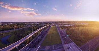 Aerial view of Interstate 4 in Sanford, Florida.