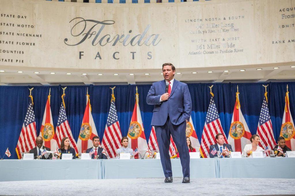 Governor Ron DeSantis addresses attendees at legislative luncheon