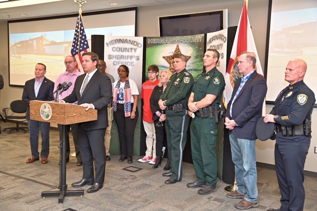 Governor Ron DeSantis announces implementation of immigration enforcement program at the Hernando County Sheriff's Office.