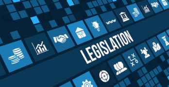 Legislation concept image with business icons and copy space.