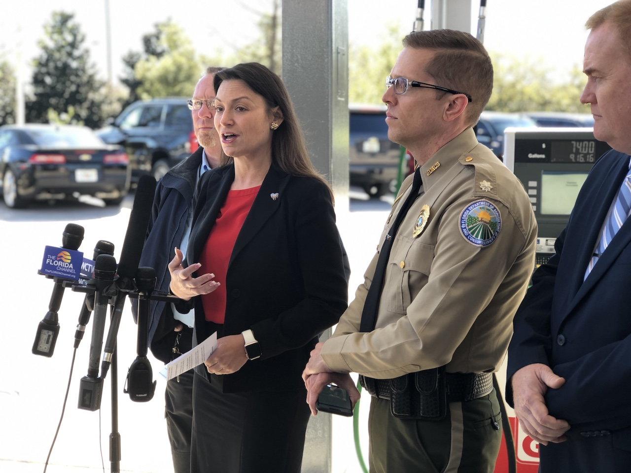 Commissioner Nikki Fried speaks at the pump skimmer inspection event highlighting National Consumer Protection Week on Wednesday, March 6, 2019