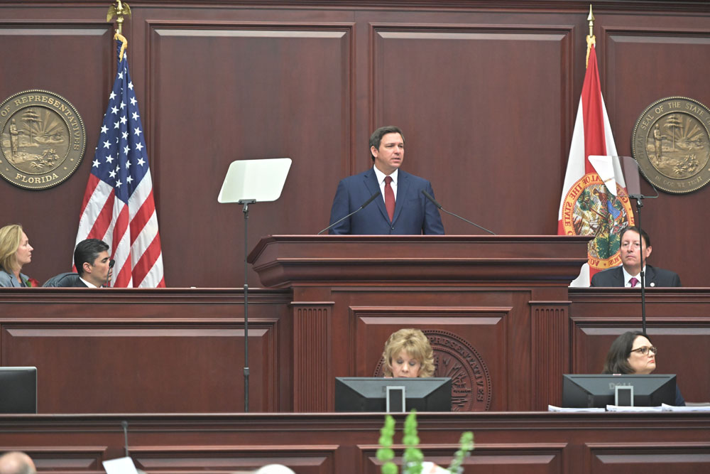 Governor Ron DeSantis delivers the State of the State address on Tuesday, March 5, 2019.