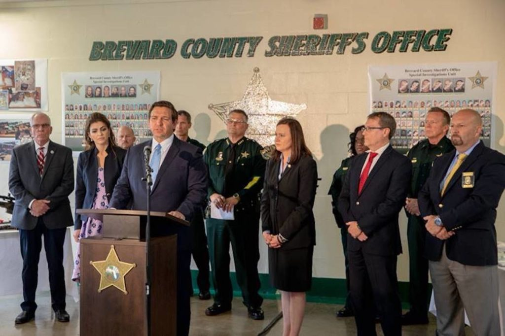 Photo of Governor Ron DeSantis making announcement with Brevard County Sheriff's Office.