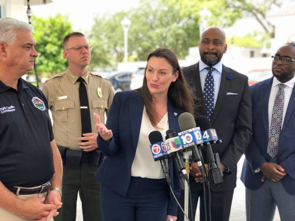 Commissioner Nikki Fried and (left to right) Commissioner Angelo Castillo, Lt. Andy Cobb, Senator Oscar Braynon II, and Representative Shevrin Jones stress the urgent need for stronger consumer protections.