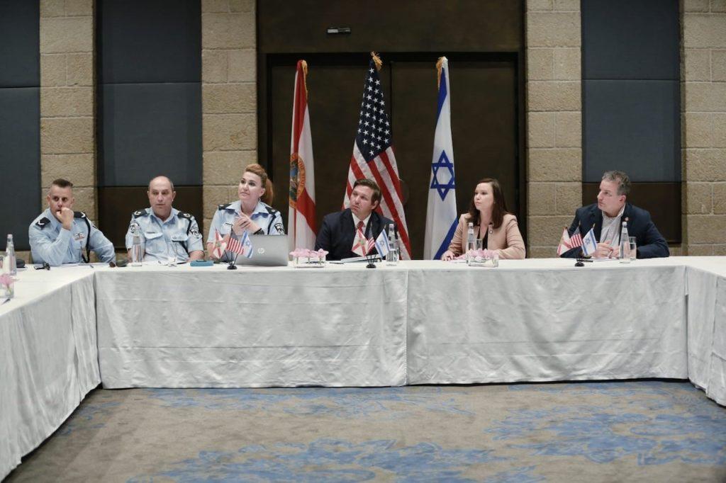Governor Ron DeSantis pictured hosting roundtable discussion in Jerusalem.