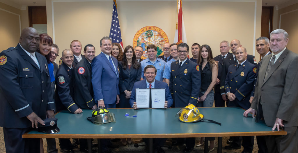 Governor Ron DeSantis signs CS/CS/SB 426: Firefighters, granting certain benefits to a firefighter upon receiving a diagnosis of cancer.