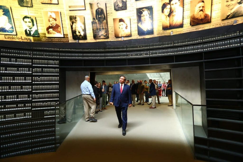 Governor Ron DeSantis pictured at Yad Vashem Holocaust Memorial in Jerusalem.