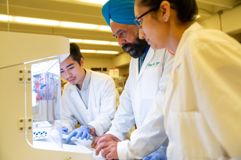 (From left) Research assistant Paul Dinh, Professor Mandip Sachdeva and doctoral student Shallu Kutlehria