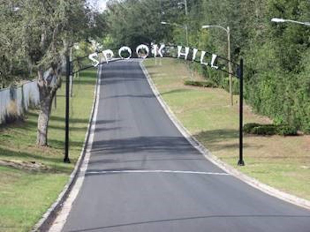 Spook Hill Road in Polk County.