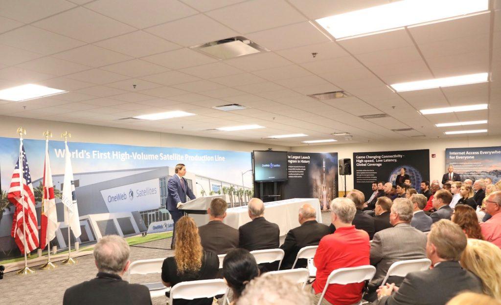 Governor Ron DeSantis pictured addressing the Space Coast Consortium Apprenticeship Program's inaugural student class.