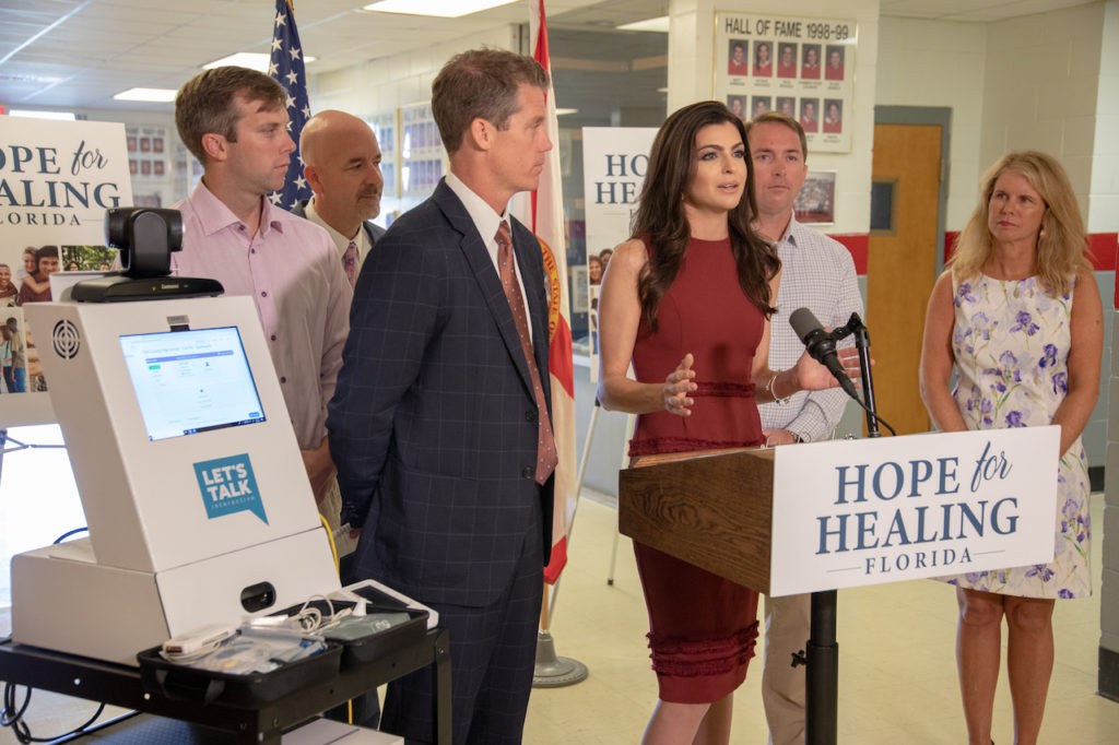 First Lady Casey DeSantis announces the installation of telehealth portals.