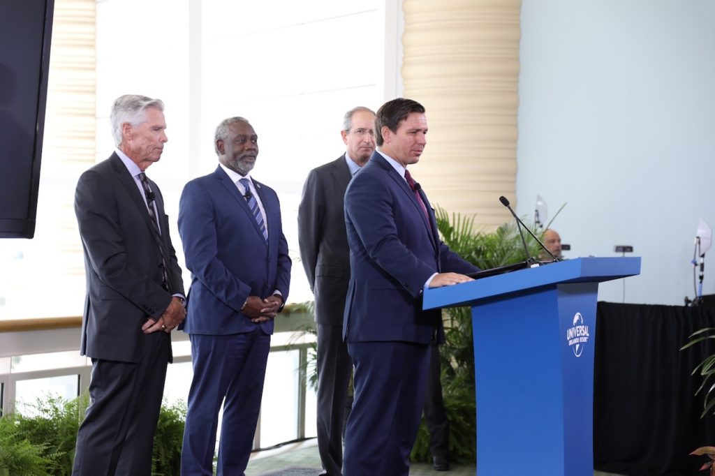 Governor Ron DeSantis, joined by Universal Parks CEO Tom Williams, Orange County Mayor Jerry Demings and Comcast CEO Brian Roberts, announces new theme park.