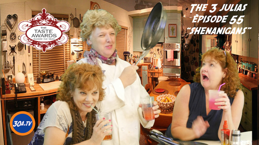 """Photograph of The Three Julias from episode 55, titles """"Shenanigans"""""""