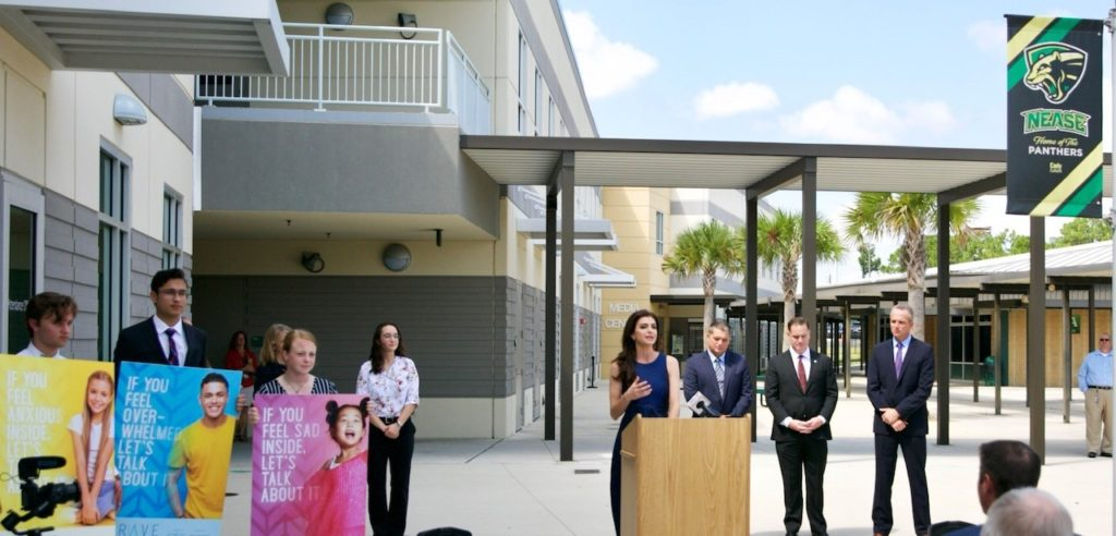 Photograph of First Lady Casey DeSantis making announcement about $1 million for a new mental health program in St. Johns County Schools.