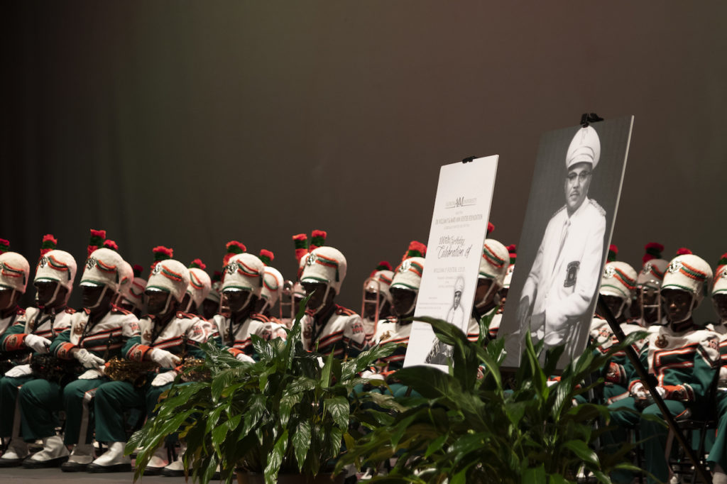 Photograph of the FAMU Marching 100 in attendance at the William Foster birthday celebration.