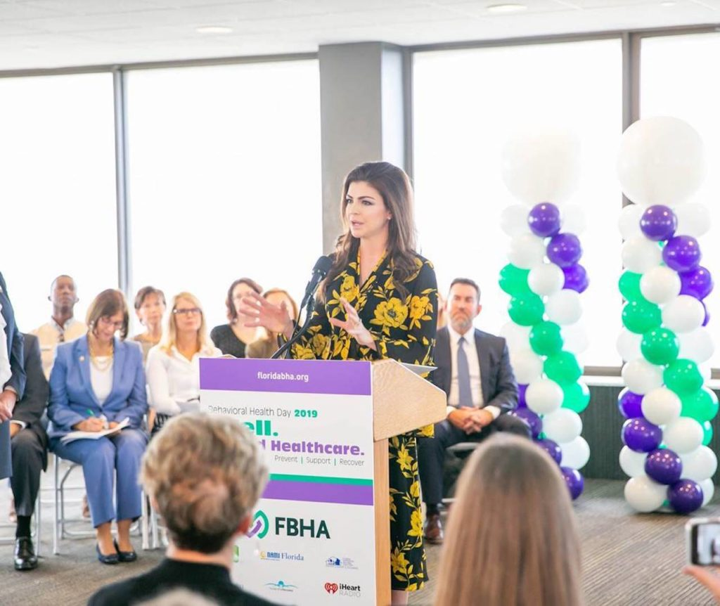 Florida First Lady Casey DeSantis pictured making FDEM announcement.