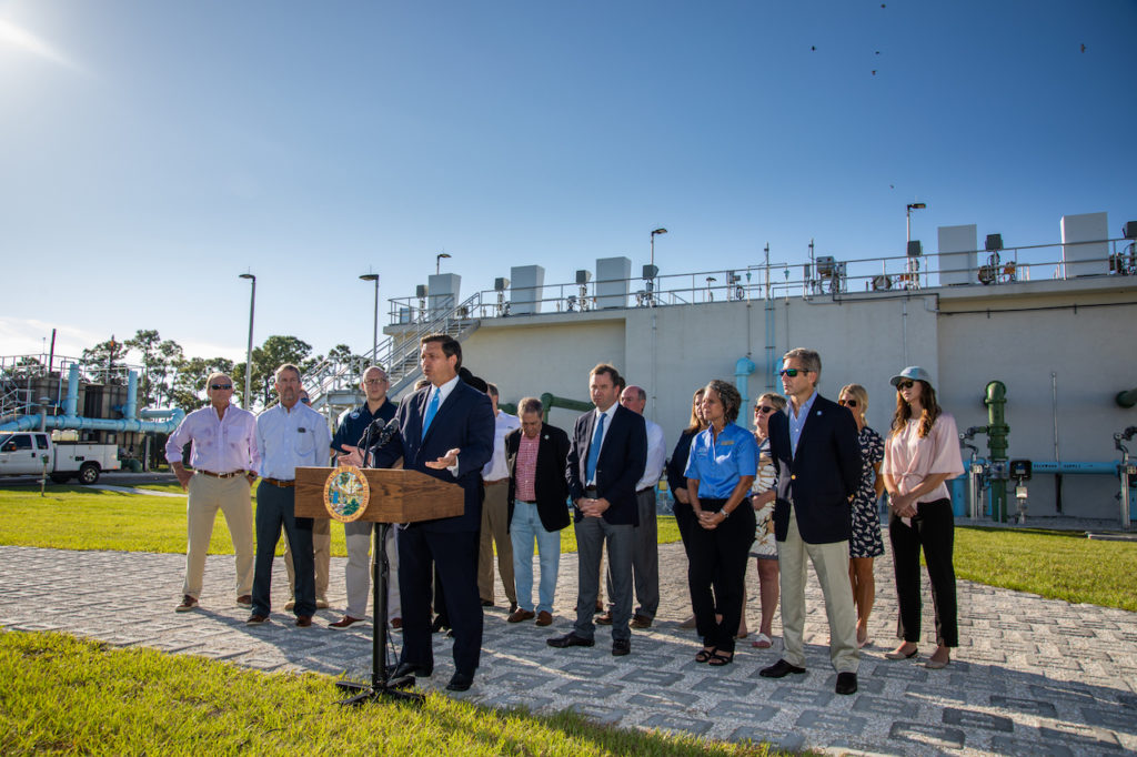 Governor Ron DeSantis pictured in Loxahatchee announcing proposed legislation for the 2020 Legislative Session that will expedite water quality improvements throughout Florida.