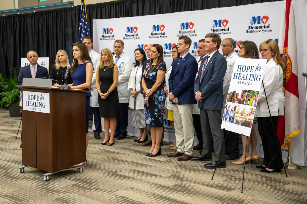 Photograph of First Lady Casey DeSantis announcing new funding to fight opioid abuse and neonatal syndrome.