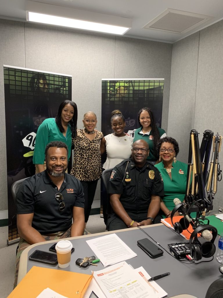 Front- L- R Will Cannon of Danzy Bail Bonds, FAMU Police Chief Terence M. Calloway, and host Patricia Green-Powell, Ph.D., MMERI interim executive director, and co-host Angela Hardiman (far left) following the taping of a recent episode of MMERI Forum Radio.