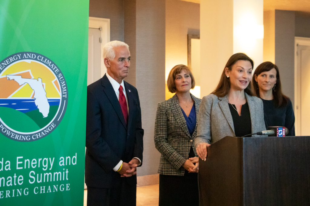 Photograph of Commissioner Nikki Fried speaking Speaking at press conference in Tampa.
