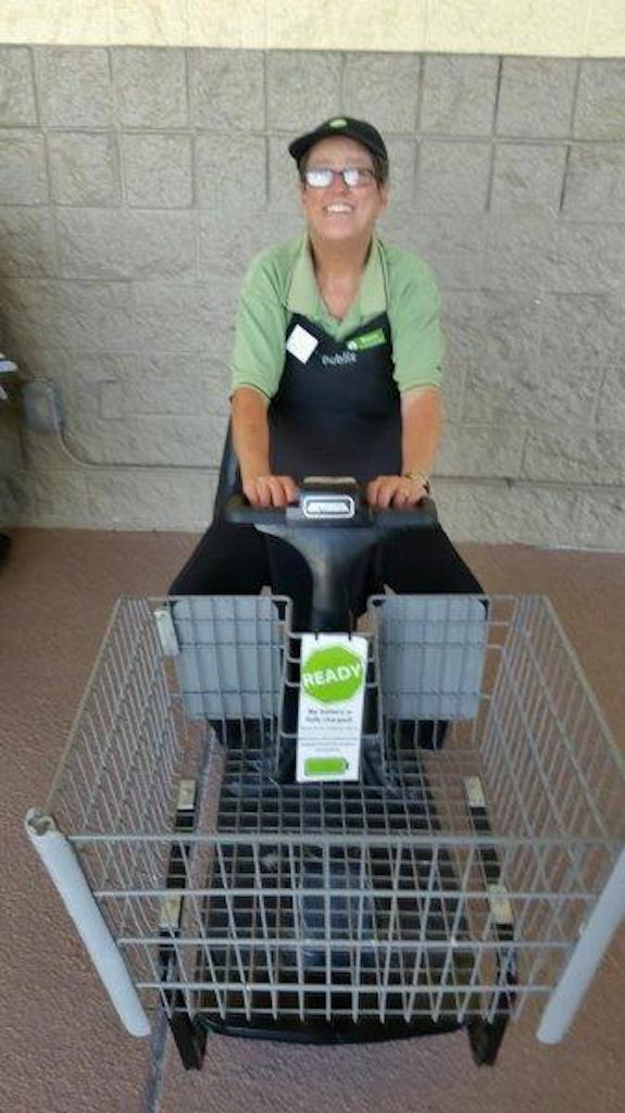 Sharon Carpenter enjoys her job as a Customer Service Associate/Bagger at the North Sebring Publix.