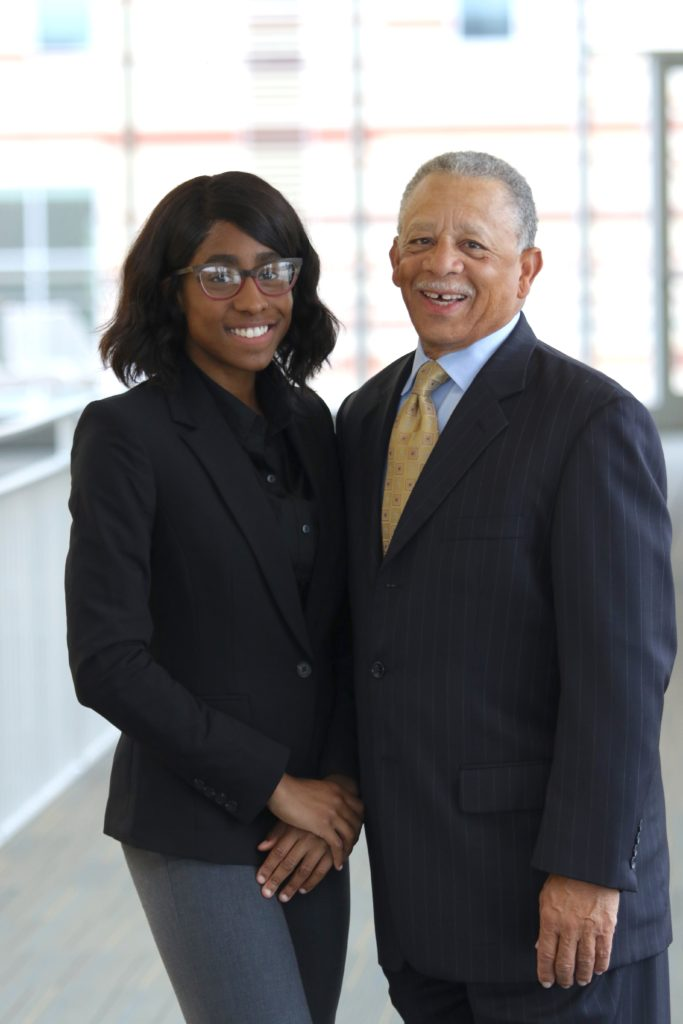 Aaliyah Brown and John Bluford III, founder of the Bluford Institute. Credit: BHLI