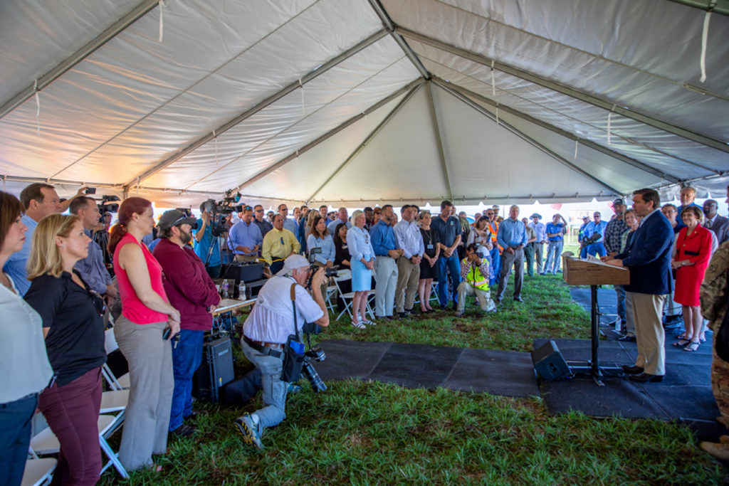 Governor Ron DeSantis visits the C-44 Reservoir and Stormwater Treatment Area (STA) site to highlight Everglades restoration and activate the pumps which began the process of filling the manmade wetland with water.