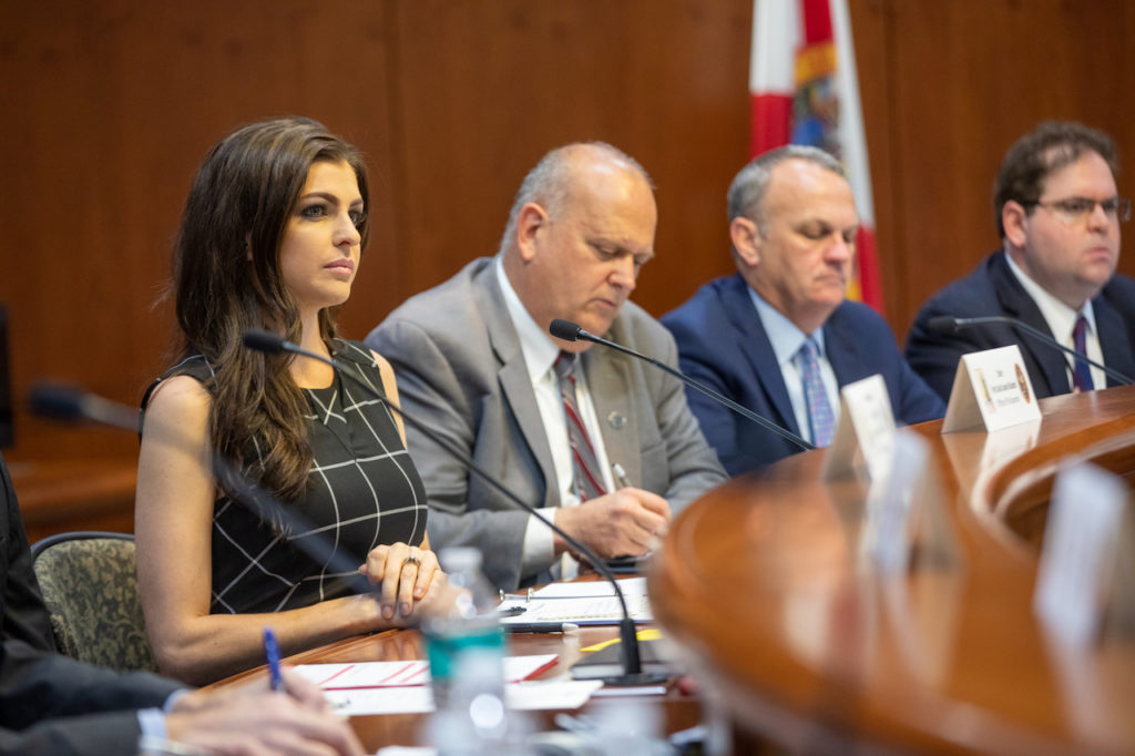 First Lady Casey DeSantis listens during the Florida's Children and Youth Cabinet Meeting.