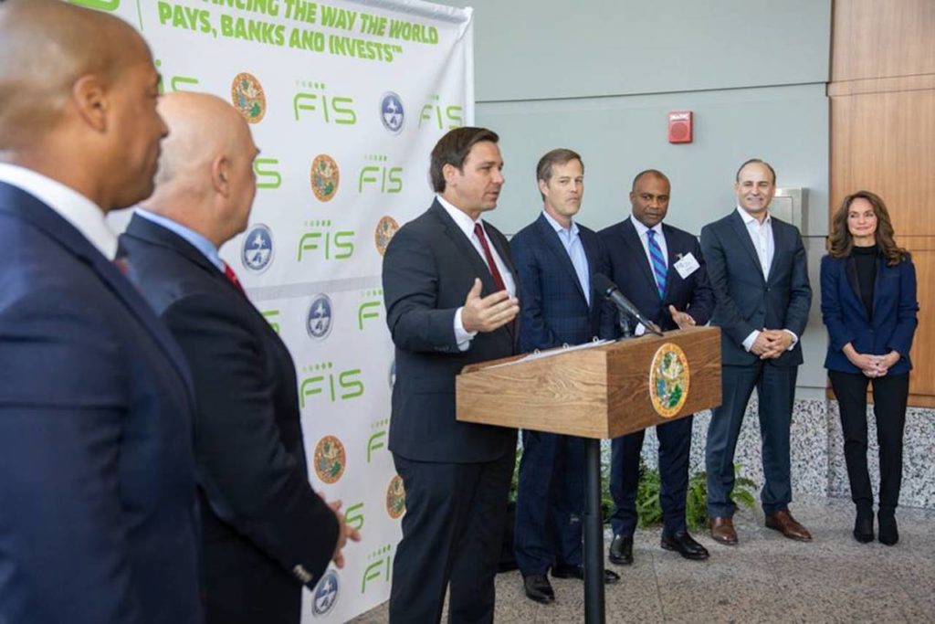 Governor Ron DeSantis makes announcement about FIS opening new world headquarters in Jacksonville, Florida.