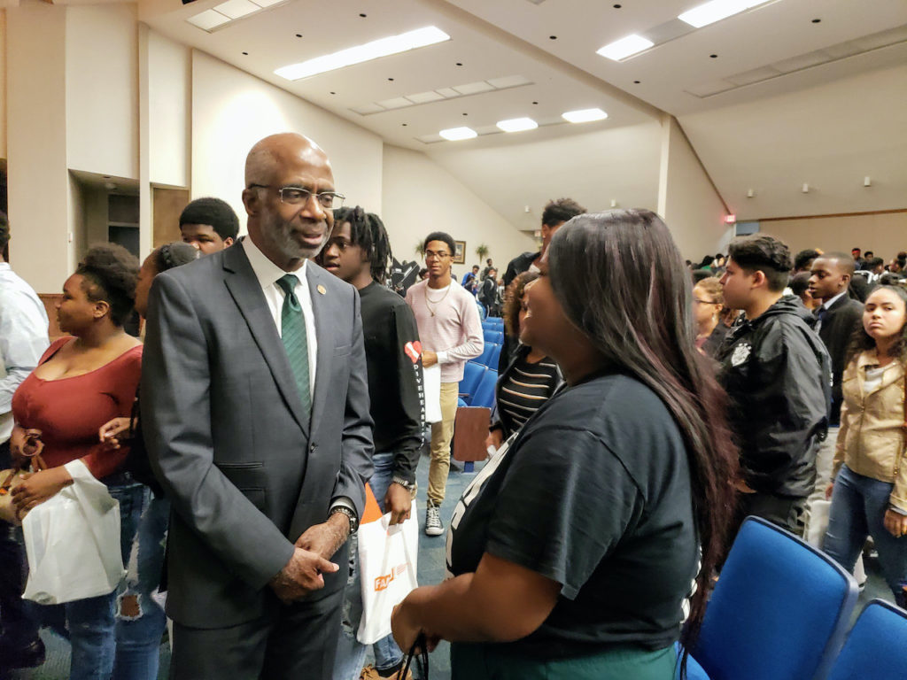 President Larry Robinson pictured speaking with prospective students at Thursday's FAMU recruitment event at Jefferson High School in Tampa, Florida.