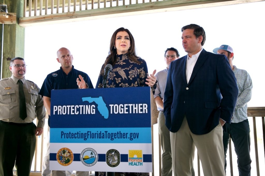 Governor Ron DeSantis and First Lady Casey DeSantis announce the launch of ProtectingFloridaTogether.gov.