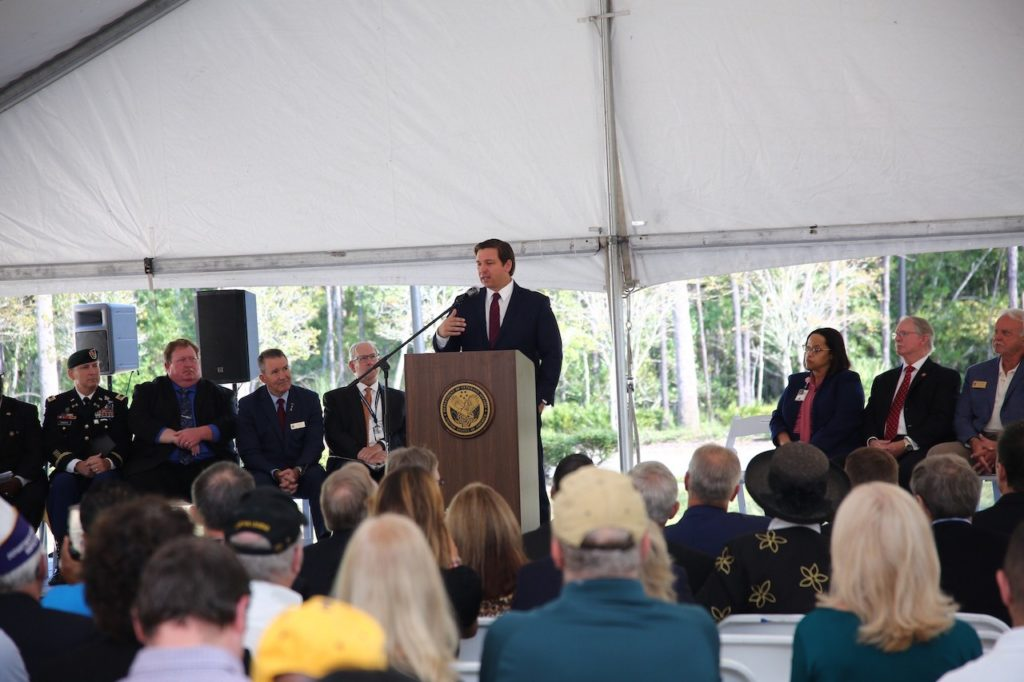 Governor Ron DeSantis speaks at today's groundbreaking ceremony.