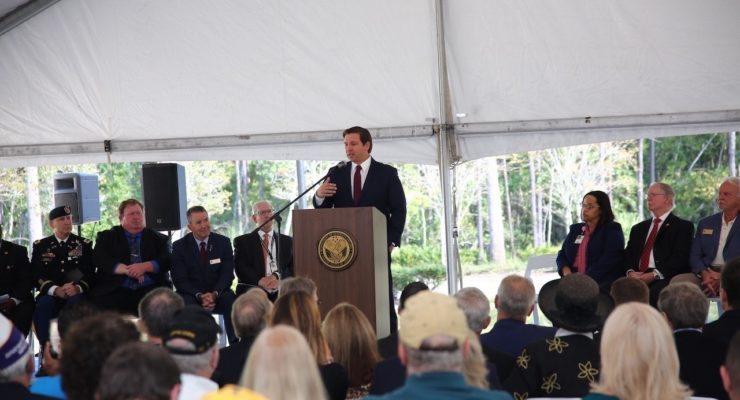 Governor Ron DeSantis speaks at today's groundbreaking ceremony.