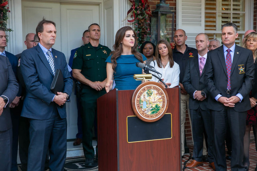 First Lady Casey DeSantis speaks at today's listening session.