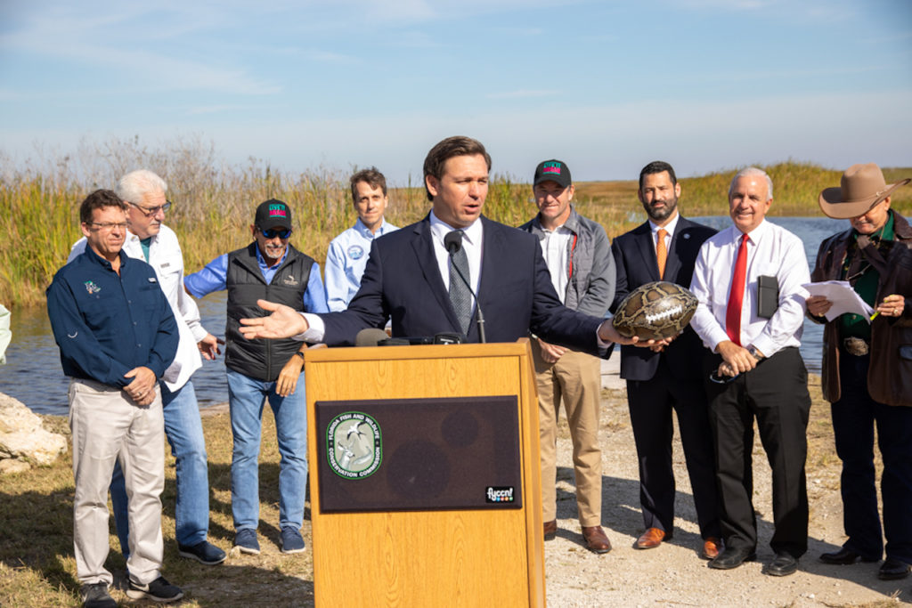 Governor Ron DeSantis announces the opening of registration for the 2020 Python Challenge™ Python Bowl.