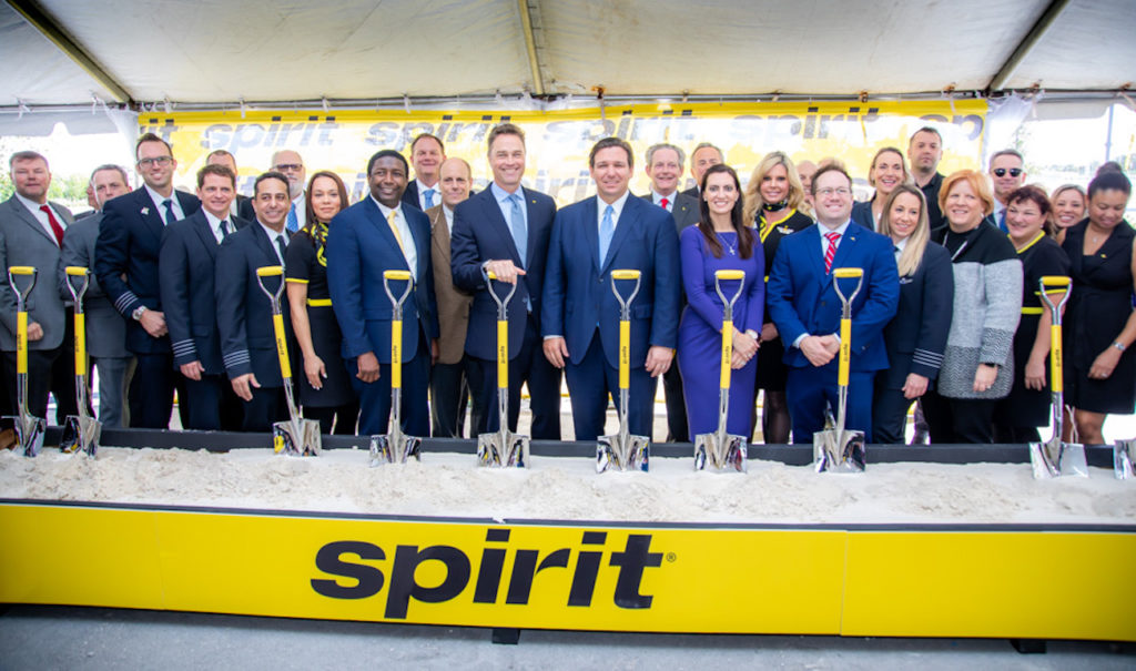 Spirit Airlines' new headquarters groundbreaking -- attendees pictured with shovels.