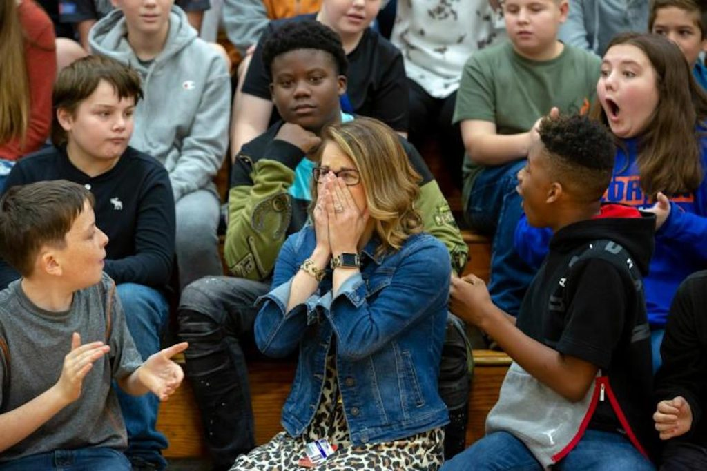 Math teacher Kristen Musgrove can't believe her ears: She is the winner of Florida's 2019-20 Milken Educator Award and $25,000!