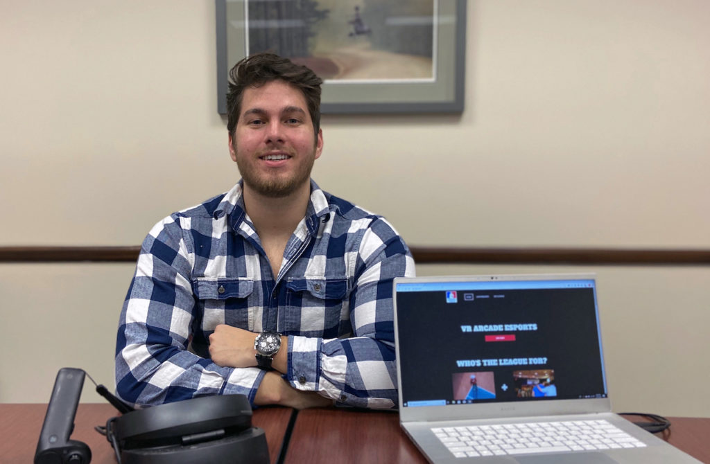 Andre Ripley '19 is developing a software-as-a-service platform to host Pistol Whip virtual reality gaming tournaments as part of a $120,000 partnership with Facebook and Oculus VR.