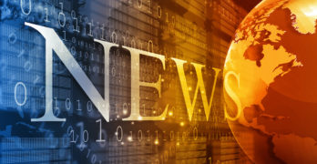 The word News on digital background