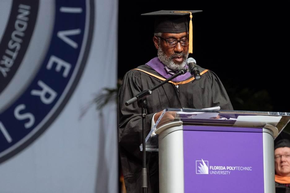 Florida Polytechnic University Trustee Frank T. Martin speaks during Florida Polytechnic University's 2018 commencement ceremony.