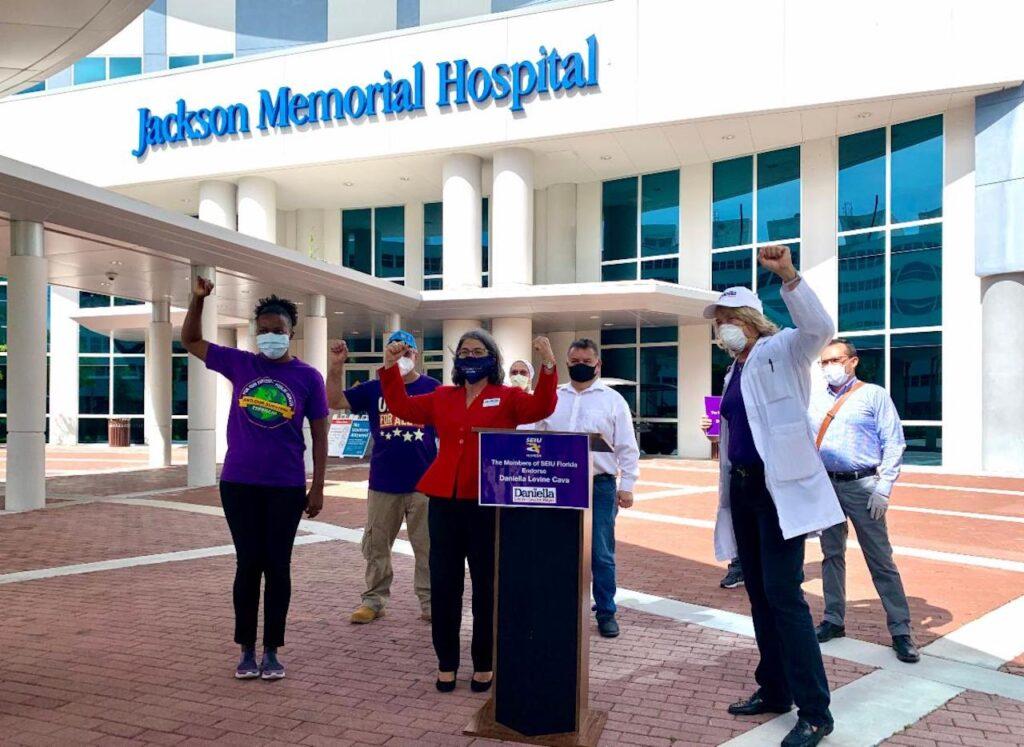 SEIU announces endorsement in front of Jackson Memorial Hospital.